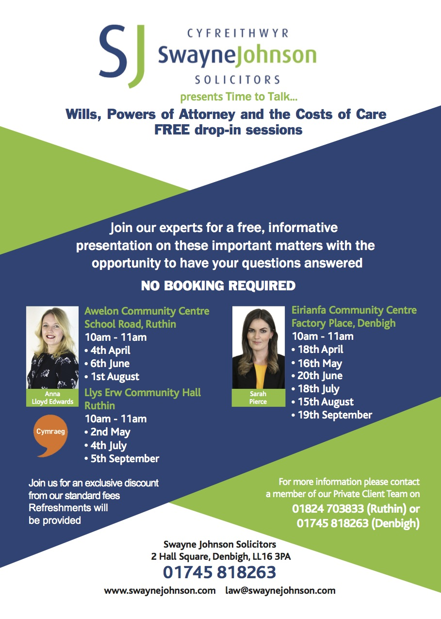 Swayne Johnson Free Drop In Wills, Power of Attorney and Costs of Care free drop in.